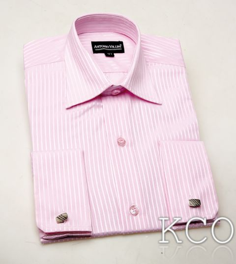 Double Cuff Striped Shirt With Cufflinks Pink